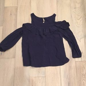 Anthropologie Maeve cold shoulder ruffle top navy